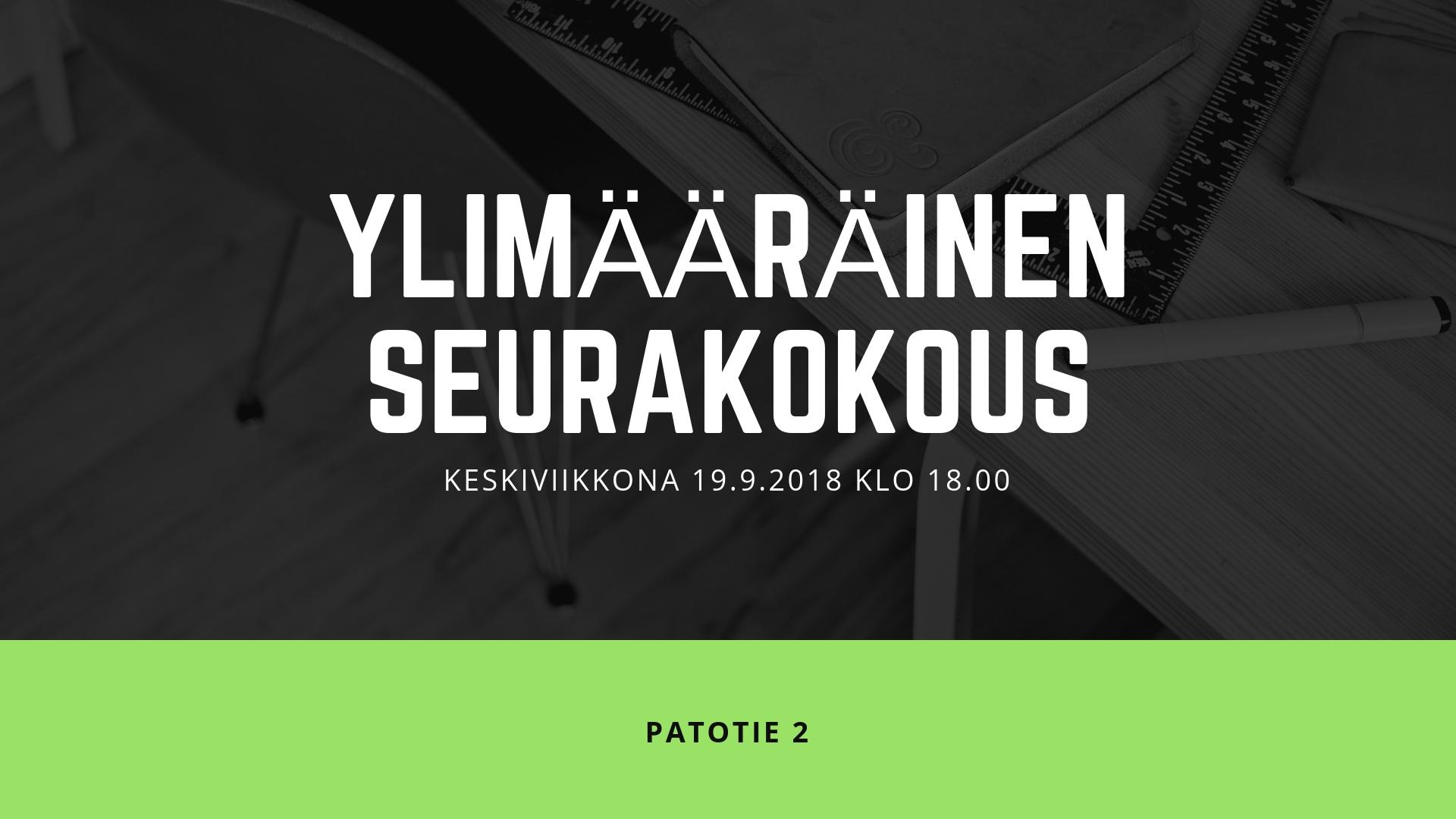 Ylimääräinen seurakokous ke 19.9. klo 18.00
