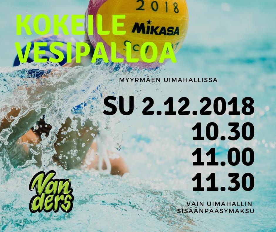 Vesipallon lajikokeiluja su 2.12.2018 Myyrmäen uimahallissa